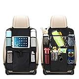 BelonLink Organizer per Auto Sedile, 6 Tasche Kids Kick Mat Custodia Protettiva, Protezione per Schienale Vettura con Tasca Trasparente per iPad, Materiale Impermeabile Nero (2 Pacchi)