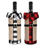 welltop Cubierta de la Botella de Vino de Navidad,2 unids Navidad Botella de Vino Cubiertas Bolsas Decoración de la Mesa de Cena para la Decoración del Partido