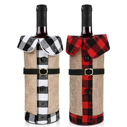 welltop Weihnachten Weinflaschen Taschen, Weihnachten Weinflasche Cover, 2 Stück für Weihnachten, Partys, Tisch Dekorationen, Geschenke