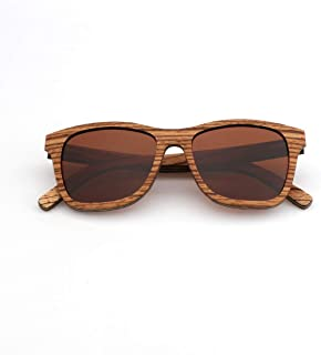 LUKEEXIN Handmade Wood Sunglasses Unisex-Adult Polarized UV Protection for Men Women (Color : Brown)