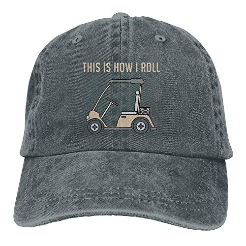 Hoswee Baseballmütze Hüte Kappe für Damen Herren This Is How I Roll Golf Cart Funny Golfers Jeanet Baseball Hat Adjustable Trucker Cap