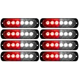 DIBMS LED Emergency Strobe Lights, 8x Red White 6 LED Strobe Warning Emergency Flashing Light Caution Construction Hazard Light Bar For Car Truck Van Off Road Vehicle ATV SUV Surface Mount
