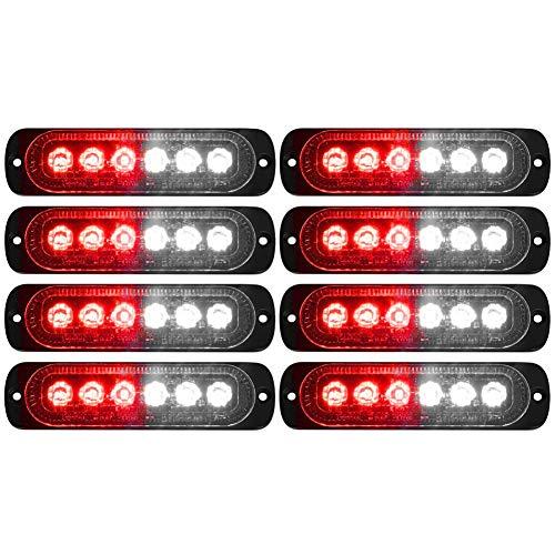 DIBMS LED Emergency Strobe Lights, 8x Red White 6 LED Strobe Warning Emergency Flashing Light Caution Construction Hazard Light Bar For Car Truck Van Off Road Vehicle ATV SUV Surface Mount