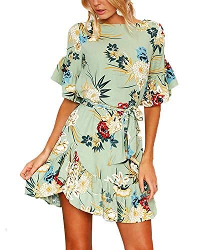 YOINS Sommerkleid Damen Kleider Rundhals Blumenmuster Kleid Elegant Kurz Hohe Taillen Minikleid Partykleid Strandmode