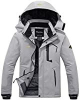 Wantdo Men's Waterproof Fleece Ski Jacket Windproof Rain Jacket Winter Coat Grey M