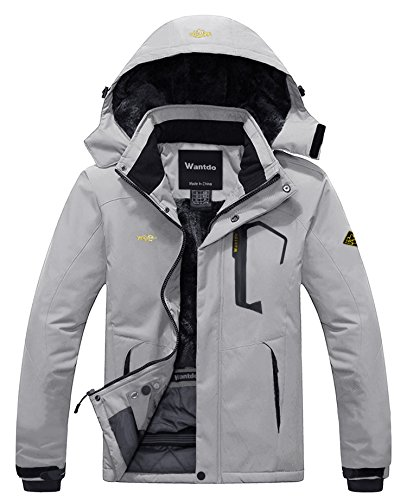 Wantdo Men's Winter Waterproof Fleece Ski Jacket Hood Coat Parka Grey XL