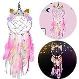 YingBiao Attrape-rêves à la Main Attrape-rêves à la Licorne avec des Plumes colorées et des Fleurs pour Les décorations de fête et de Mariage sur Le thème de la Licorne
