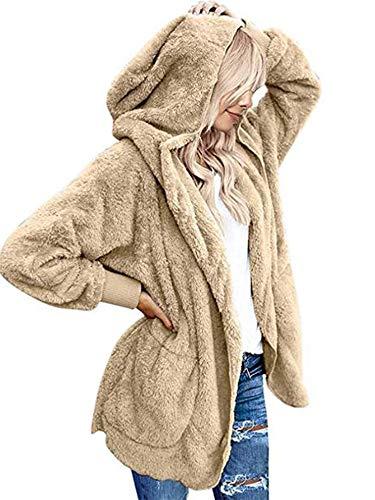 Beyove Damen Mantel Plüchjacke Frau Wintermantel Kurzmantel Warm Cardigan Kapuzenjacke mit Taschen Winterjacke, Beige, XL