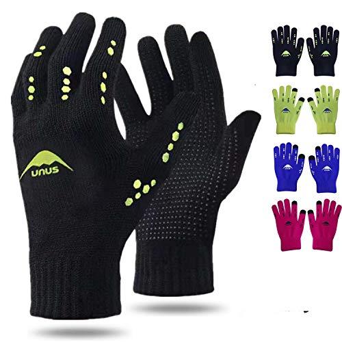 Handschuhe Kinder Winter Jungen Mädchen Strickhandschuhe Unisex Touchscreen Gloves Laufen Warm RadfahrenHandschuhe Sport Fahrrad Fußball Täglich Grün Alter 5-12 (Schwarz)