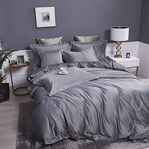 Conjuntos de ropa de cama de satén, 4 piezas de algodón de algodón cubierta de edredón conjuntos de cama de color sólido de algodón antibacteriano cálido textil bordado king doble tamaño WANGHN