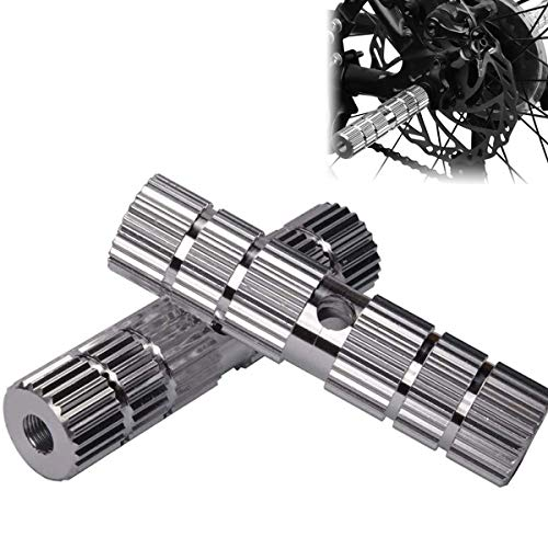ZONSUSE 2PCS Bike Foot Pegs,BMX Stunt Pegs,220lb Load Bearing Aluminum Alloy Anti-Skid Lead Foot Stunt Pedal Front Rear Axle Threaded BMX Pegs Suitable for BMX Mountain Bikes Passengers(Silver)
