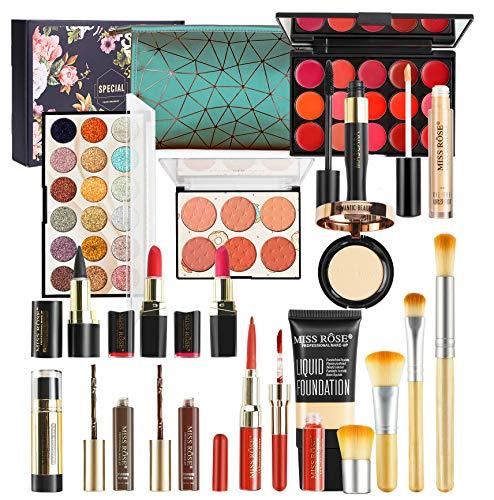 LEAMALLS 18 St Schmink Kosmetik Geschenkset für Augen Gesicht Lippen Körper Lidschatten Paletten Make-up Set Aufbewahrung Schminktasche Professionelles