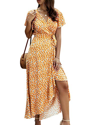 Simplee Women's V Neck Wrap Floral Split Belted Flowy Boho Short Sleeve Beach Maxi Dress(Orange Floral 12)