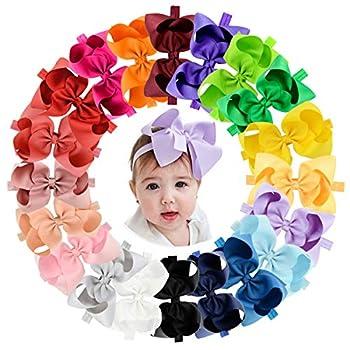 20pcs Baby Girls Hair Bows Headbands 6  Grosgrain Ribbon Hair Band Accessories for Infants Newborn Toddler