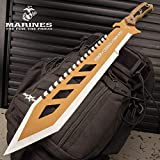 United States Marine Corp USMC Desert OPS Sawback Machete with Sheath - Stainless Steel Blade, Non-Reflective Coating, ABS Handle - Length 24'