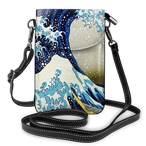 IUBBKI Japanische Wellen Leder Telefon Geldbörse Verstellbare Handy Tasche Geldbörse Schultergurt Handtasche Schlüsselhalter