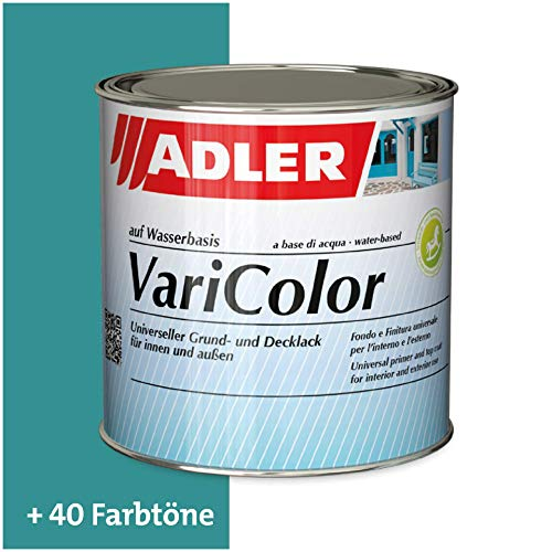ADLER Varicolor 2in1 Acryl Buntlack für Innen und Außen - 750 ml RAL5018 Tuerkisblau Blau - Wetterfester Lack und Grundierung für Holz, Metall & Kunststoff - Seidenmatt