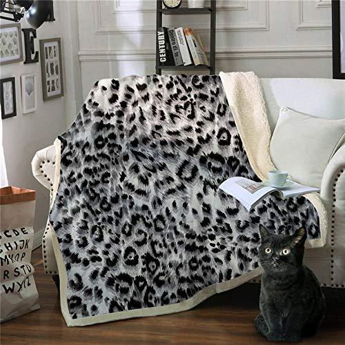 Manta Reversible de Franela Sherpa Estampado de leopardo blanco y negro Manta Polar para Sofá Cama, 100% Microfibra Cepillada Extra Suave Transpirable - Mantas de Pelo Cálida Acogedor 150x200cm