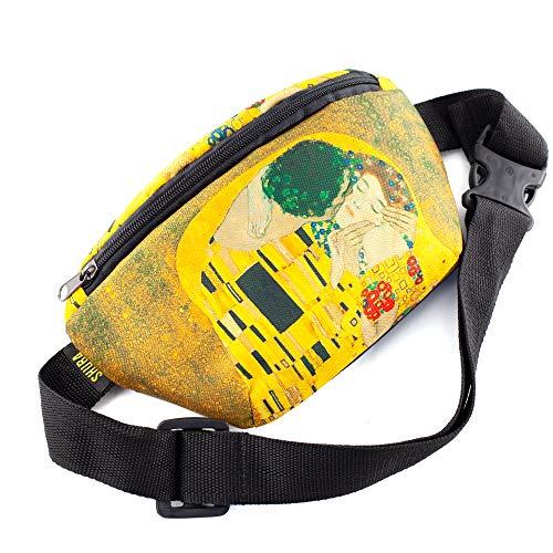The kiss Klimt Daypack Crossbody Bag Belt Waist Packs, Waist Pocket, Adjustable belt bag, famous art canvas, for travellers (Yellow)