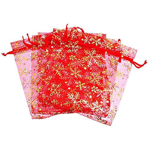 100 bolsas bolsitas de organza navideña de 9 cm x 12 cm...
