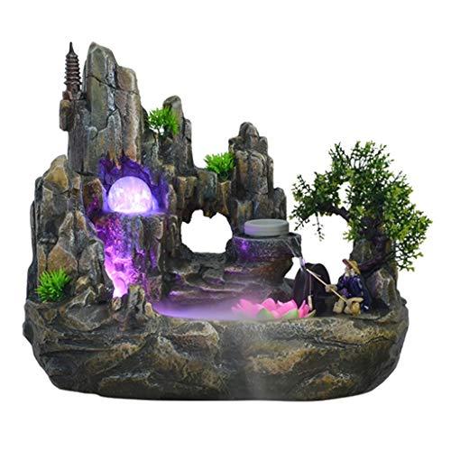 Xinxinchaoshi Indoor Desktop Brunnen Wasserfall Harz Steingarten Brunnen Set enthält Zerstäuber rotierende Kugel Beleuchtung Zubehör geeignet for Wohnzimmer Büro (Größe : S)