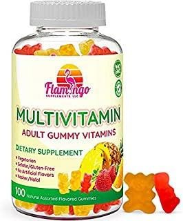 Multivitamin Gummies   Vegan Friendly, Kosher Halal NO Gluten or Gelatin, no GMO  for Men, Women & Kids  3 Natural Flavors   Vitamins A, C, B3, B12, Biotin, Zinc & More  100 Gummies