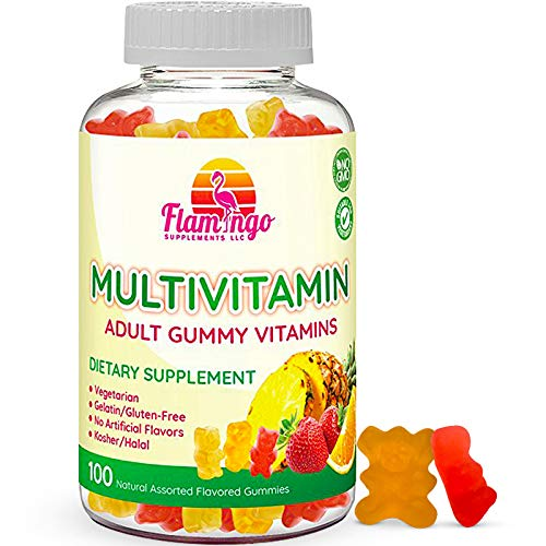 Multivitamin Gummies | Vegan Friendly, Kosher Halal NO Gluten or Gelatin, no GMO| for Men, Women & Kids| 3 Natural Flavors | Vitamins A, C, B3, B12, Biotin, Zinc & More| 100 Gummies