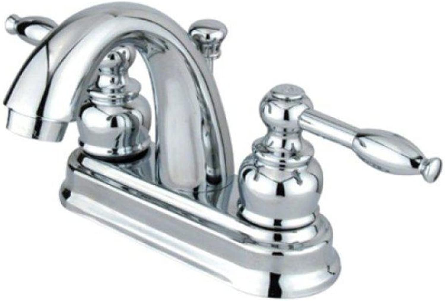 Kingston Brass Gkb5611Kl Polished Chrome Knight Knight Centerset Bathroom Faucet With Pop-Up Drain Assembly And Metal Lever Handles