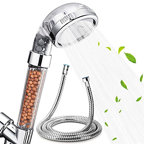 Nosame Shower Head with Hose , Filter Filtration High Pressure Water Saving 3 Mode Function Spray Handheld Showerheads for Dry Skin & Hair