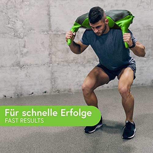 POWRX Bulgarien Gewichts Bag I 5 kg 8 kg 12 kg 17 kg 22 kg I Kunstleder Sandsack für Functional Fitness (12 kg Schwarz/Hellgrün) - 6