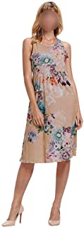 Women's Dress Sleeveless Crew Neck Floral Printed Swing Dress (Color : Khaki, Size : M)