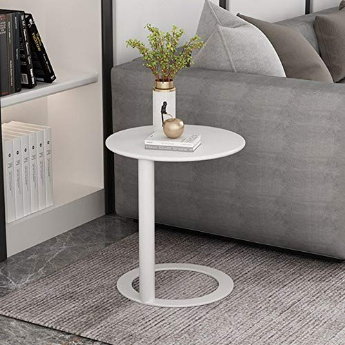Mesa de centro nórdico Mesa de arte de hierro Mesa redonda de lujo Pequeña Mesa simple Muebles de salón Mesa de café Mesa de noche Mini Mesa (blanco)