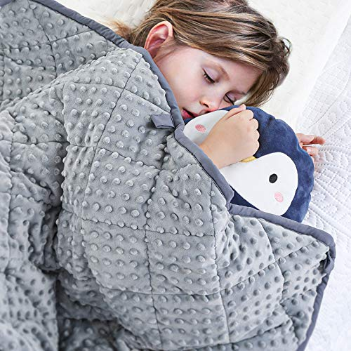 peradix weighted blanket for kids children autism anxiety, bed blankets with sensory soft minky dot reverse side - heavy weight blanket for sleep therapy (grey, 92 x 122 cm, 2.3kg)