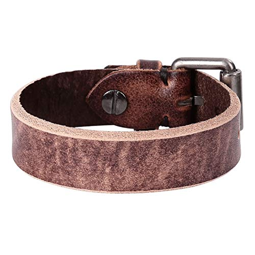 Daesar Men Bracelet Brown, Friendship Bracelet Leather Bangle Watch Buckle Bracelet Brown Mens Chain Bracelets