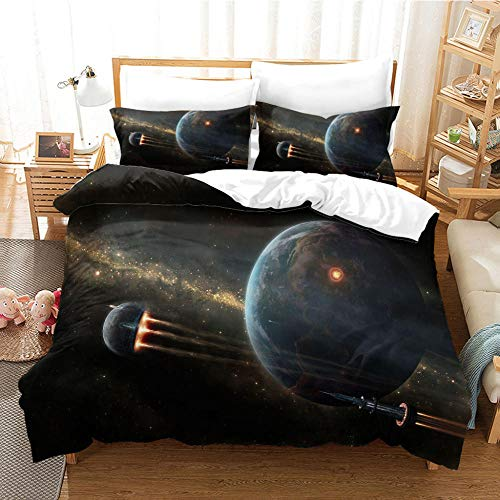 Duvet Cover 3D Travel In Space Printed Quilt Cover With Zipper Closure,3 Pieces(1 Duvet Cover + 2 Pillowcases), Soft Microfiber Bedding 240X260Cm