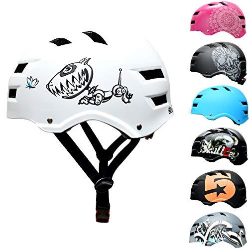 Skullcap® BMX Helm – Skaterhelm – Fahrradhelm – Herren Damen Jungs & Kinderhelm, weiß matt, Gr. M (55-58 cm), Hund lustig Robodog