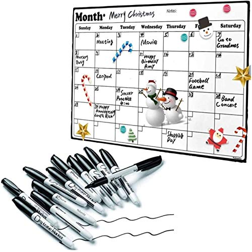 Volcanics Fridge Calendar Magnetic Dry Erase Planners 16.9 Inches X 11.8 Inches and Black Dry Erase Markers Low Odor Fine Box of 12