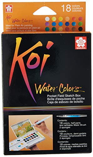 Sakura XNCW-18N, 18 Assorted Watercolors Field Sketch Set with Brush