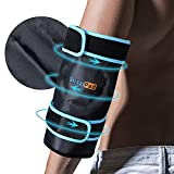 SuzziPad Elbow Ice Pack for Injuries with Double-Sided Fabric Cover, Wearable Ice Elbow Wrap with Cold Compress, Pain Relief for Forearm, Tennis Elbow, Golfers Elbow, Bursitis and Sport Injuries