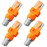 RF to RJ45 Converter Adapter F Female to RJ45 Male Coaxial Barrel Coupler Adapter Connector Coax Straight Connector (4)