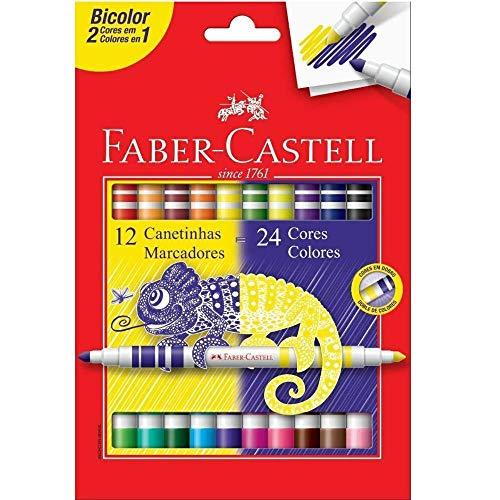 Canetinha Hidrográfica Bicolor, Faber-Castell, 12 Canetas/24 Cores