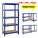 <span class='highlight'><span class='highlight'>Xinng</span></span> Heavy Duty Garage Shed Storage Shelving Unit Racking Shelve Strong Stable 5 Tier Metal Shelves Boltless Adjustable Design Up to 875kg Capacity Blue, 180 x 90 x 40cm