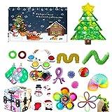27Pcs Fidget Calendriers de l'Avent 2021 Jouet pour enfants Fidget Toy Blind Box Noël Calendrier de l'Avent Fidget Toy Pack Sensory Squeeze Fidget Toy Set pour Noël Party Favor (2, One Size)
