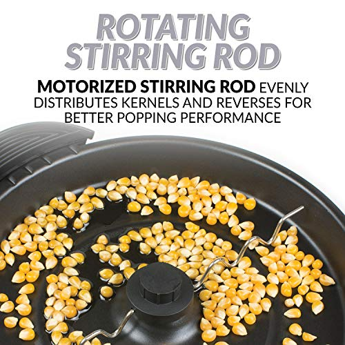 Product Image 4: Nostalgia Stainless Steel 6-Quart Stirring Speed Popper with Quick-Heat Technology 24 Popcorn, with Kernel Measuring Cup, Makes Roasted Nuts, Perfect for Birthday Parties, Movie Nights