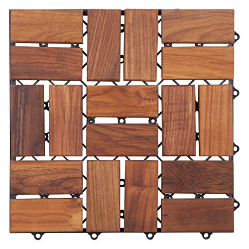 Nordic Style Oiled Teak Interlocking Tiles 18 slats,10 pcs per box - Wooden Floor Tile Set for Indoor and Outdoor Use - Perfect for Sauna, Patio, Deck, Spa Floors - Easy Lock Solid Wood Slats 10 sq ft