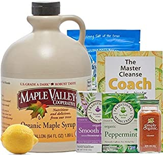 Maple Valley 10 Day Organic Master Cleanse Lemonade Detox/Kit with Peter Glickman Master Cleanse Coach Book