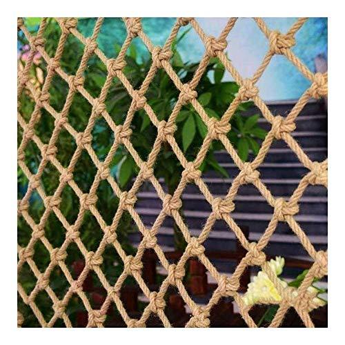 JRY Red Decorativa de cáñamo de Yute, barandilla de balcón Tejida a Mano, Valla de protección de escaleras, protección de Seguridad de Red Protectora para niños, Cuerda Tejida para Escalar