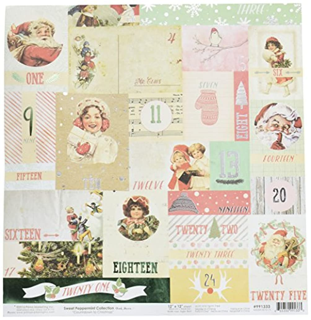 Prima Marketing Paper 12x12 Sweet Peppermint - Countdown to Christmas