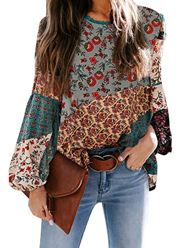 Biucly 2020 Women's Chiffon Boho Floral Print Long Balloon Sleeve Green Blouses Stylish Loose Tops Shirts Pullover X-Large