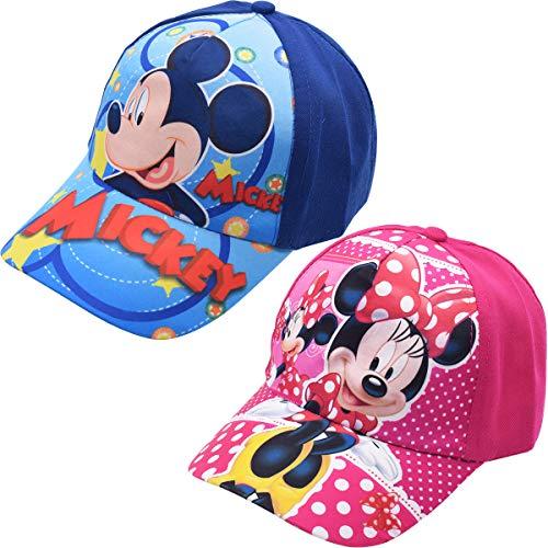 Miotlsy Kinder Cap Mickey Minnies für Kinder Geschenk für Jungen Mädchen Kappe Baseball Cap Basecap Kinder-Geburtstag Schule Sport Sonnenschutz(Pink und Blau)